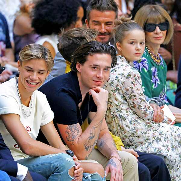 Romeo Beckham, Brooklyn Beckham, David Beckham, Harper Seven Beckham, Victoria Beckham, Anna Wintour, London Fashion Week